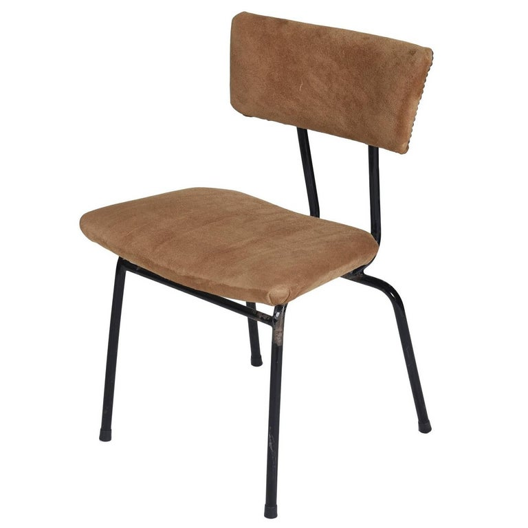 Midcentury Chair in Metal and Suede, Brazilian Design by Paubra