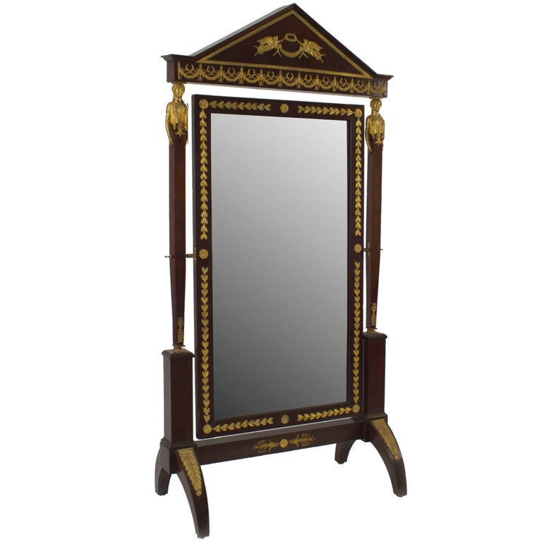 19th c. French Empire Style Bronze Trimmed Mahogany Cheval Mirror
