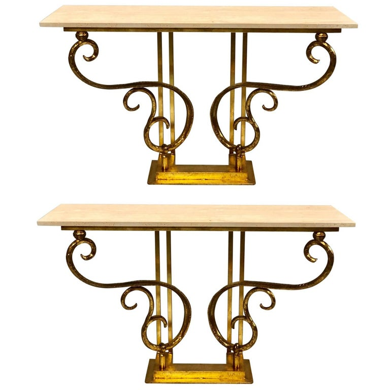 Two Italian Mid-Century Modern Gilt Iron Consoles/Sofa Tables by Giovanni Banci