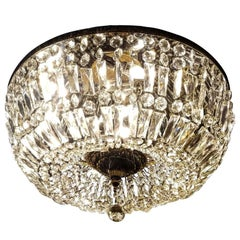 Spectacular Flush Mount Crystal and Bronze Basket Chandeliers