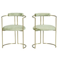 Pair of Carrocel Custom Brass Demilune Armchairs in Sea Foam Velvet