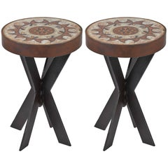 Pair of 1960s Ceramic Top Iron Stools or Side Tables