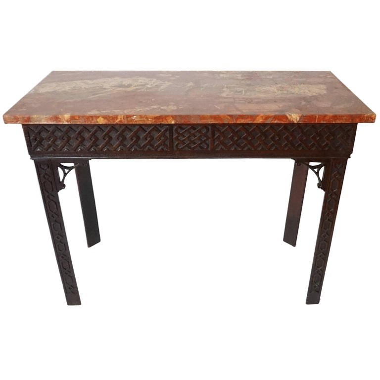 Irish Chippendale Carved Mahogany Side Table, circa 1760