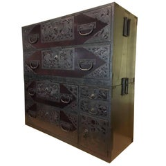 Tansu Japanese Sado Island Cedar Console Sideboard Bedside Table Cabinet, Meiji