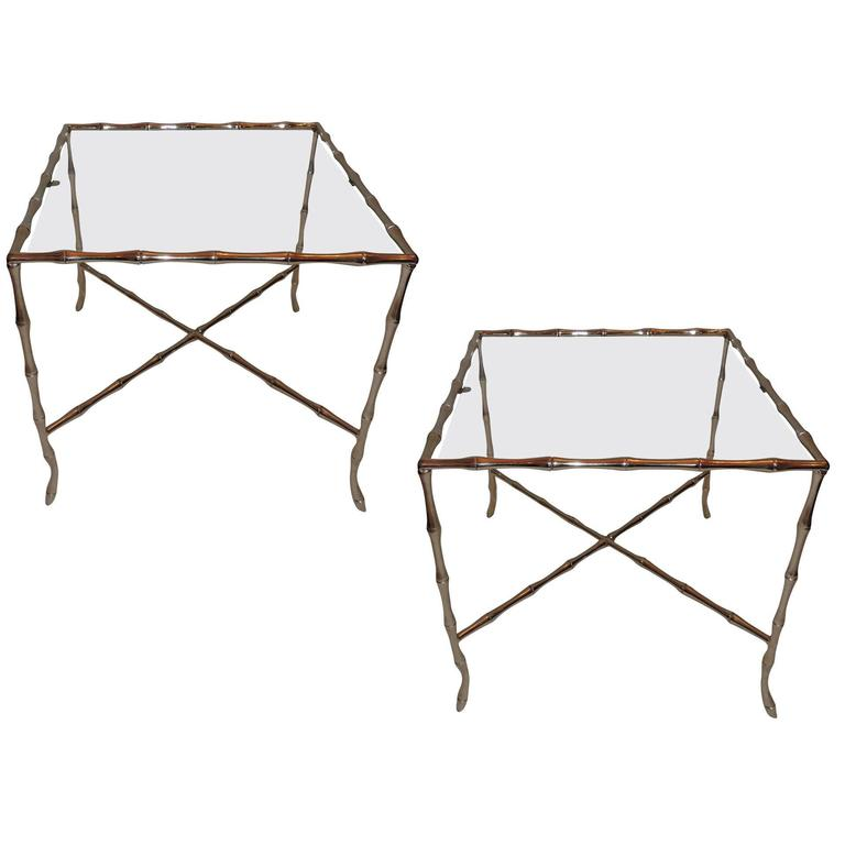 Wonderful Pair Bagues Silvered Bronze Nickel And Glass Top Bamboo Side  Tables 1