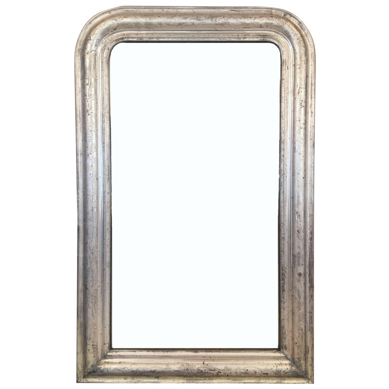 Louis Philippe Silver Gilt Mirror (H 42 1/2 x W 27) For Sale