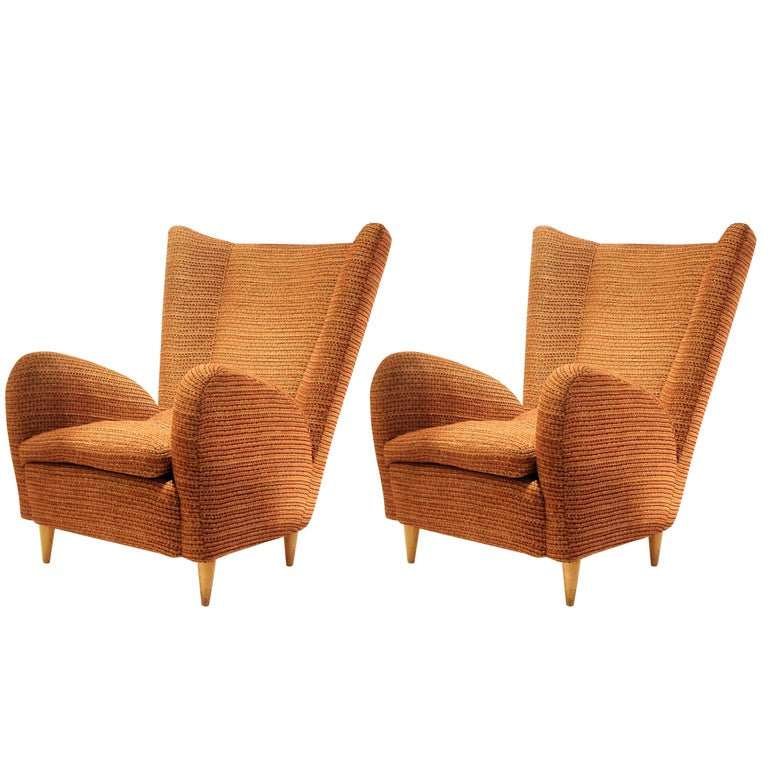 Pair of 1950s Italian Armchairs Attr. to Paolo Buffa, Robert Allen Upholstery
