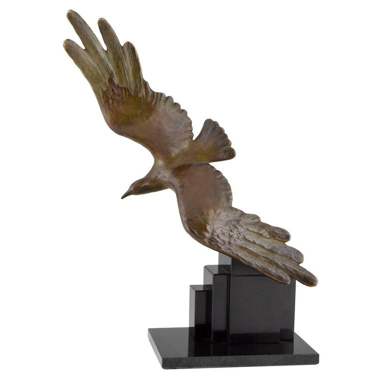 Art Deco Bronze Seagull bird sculpture By Alexandre Kelety