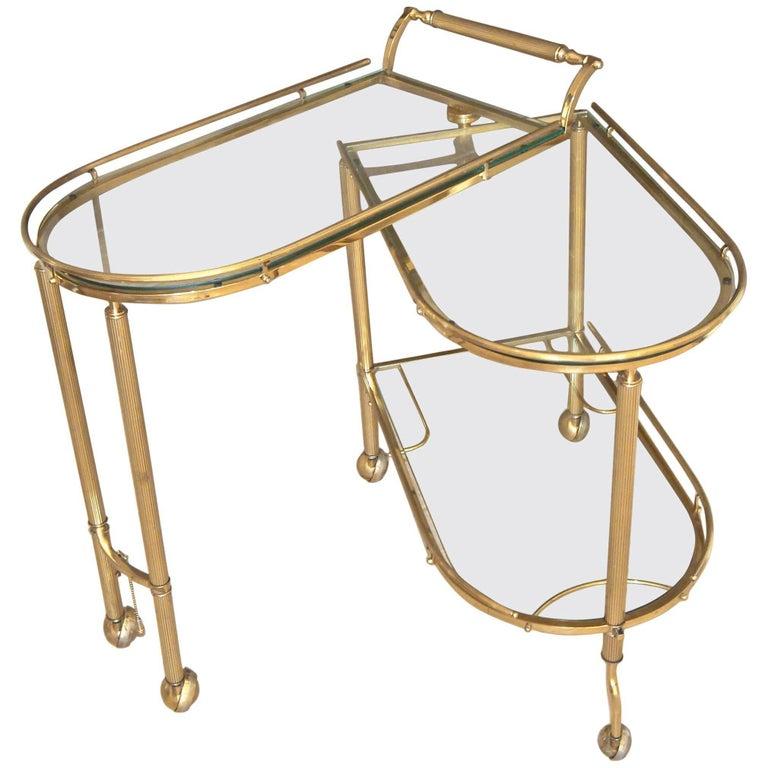 Italian Brass Three-Tier Swivel Bar Serving Cart