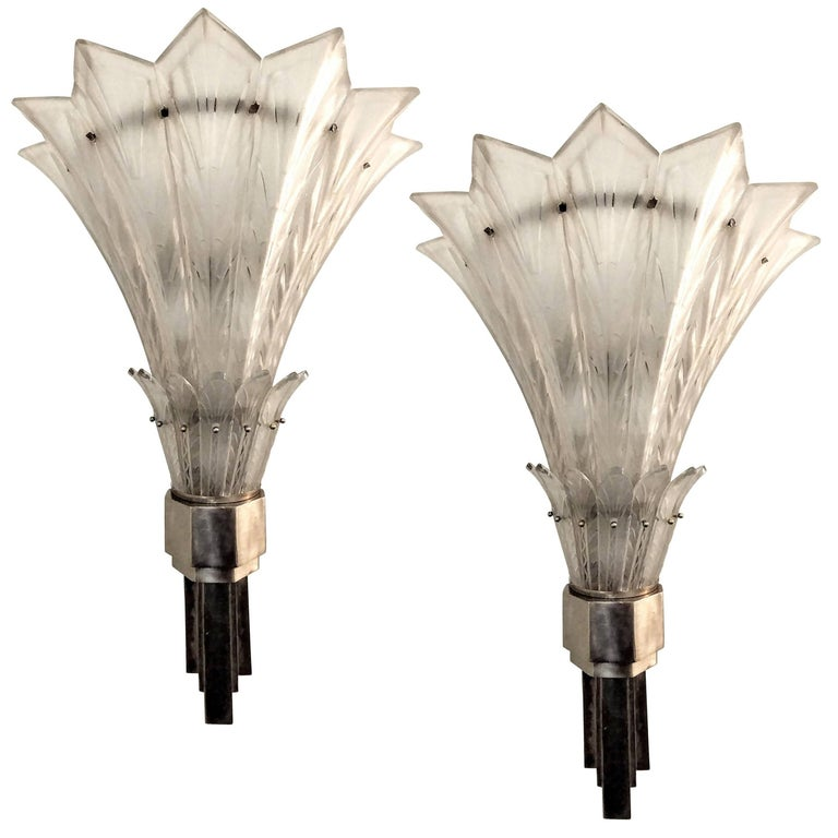 art deco wall sconces. Pair Of French Art Deco Wall Sconces Signed By Marius-Ernest Sabino For Sale