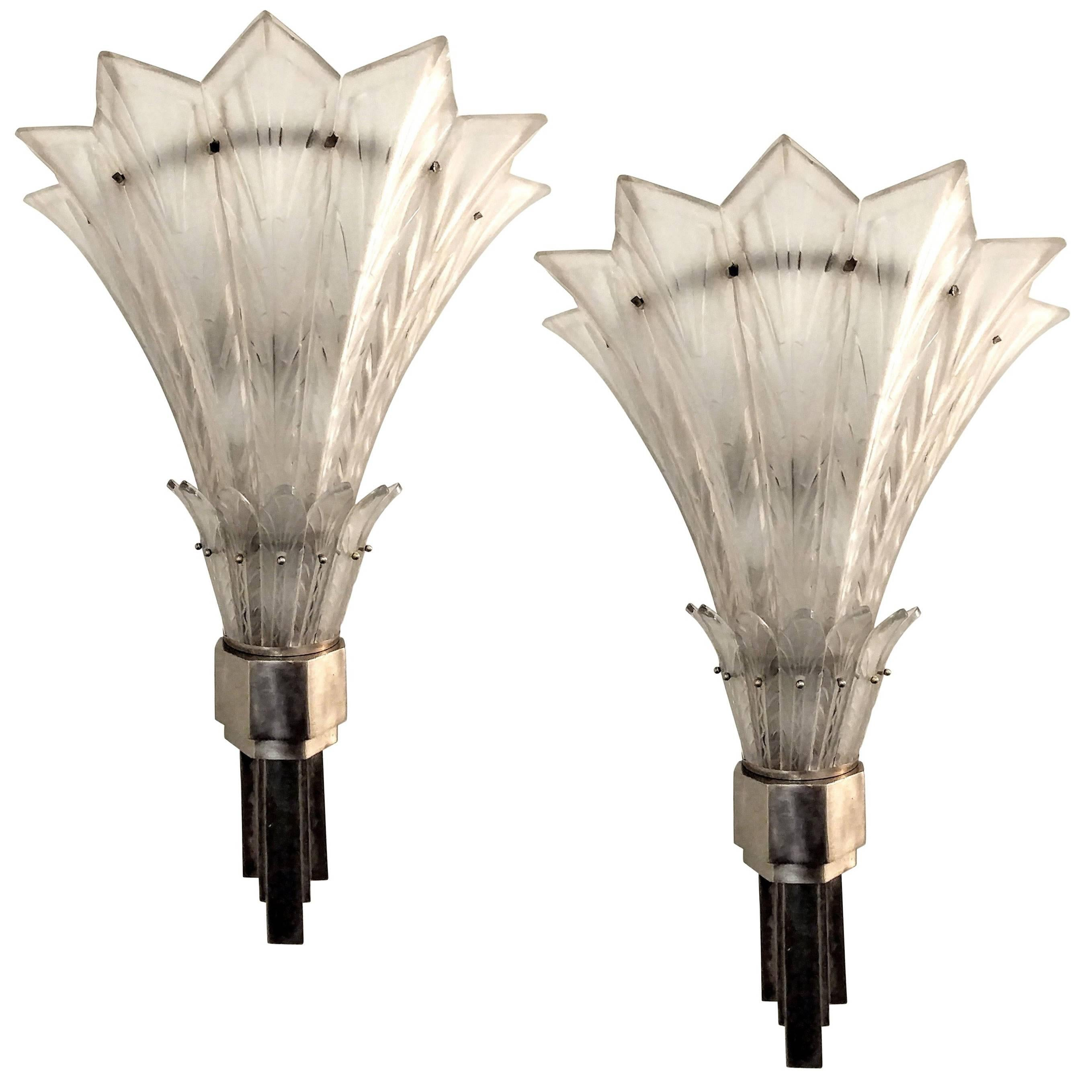 Pair Of French Art Deco Wall Sconces Signed By Marius Ernest Sabino For Sale