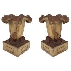 Pair of Outdoor English Victorian Terra Cotta Urns
