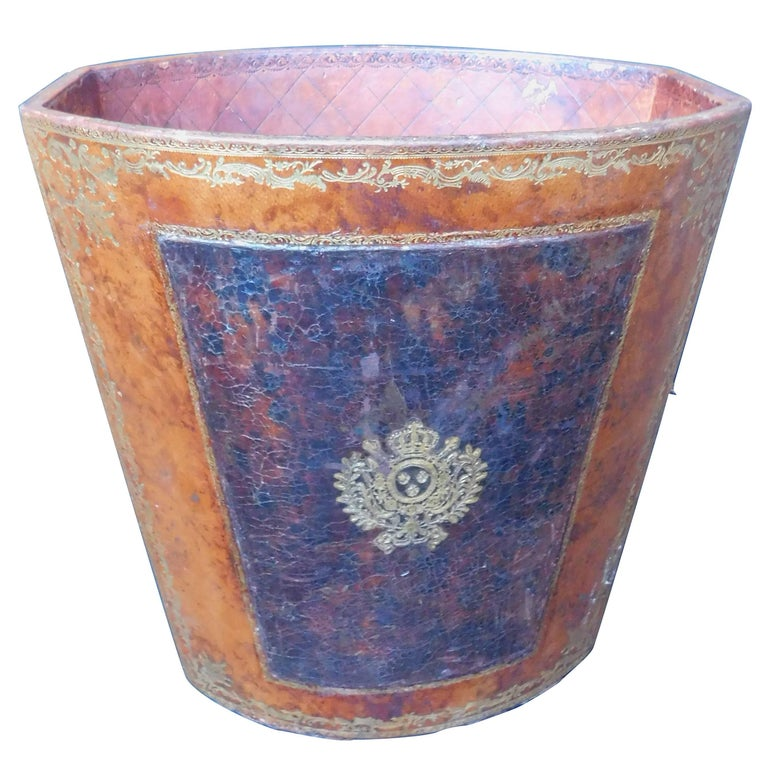 Vintage French Waste Paper Basket leather with Gold Embossed Decoration For Sale
