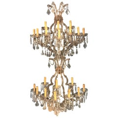 Pair of Venetian Crystal Ten Lights Wall Sconces, circa 1940