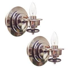Pair of American Art Deco Revival Chrome and Black Candle-Form Wall Sconces