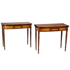 Rare Pair of Federal Inlaid Games Tables, New England circa 1810