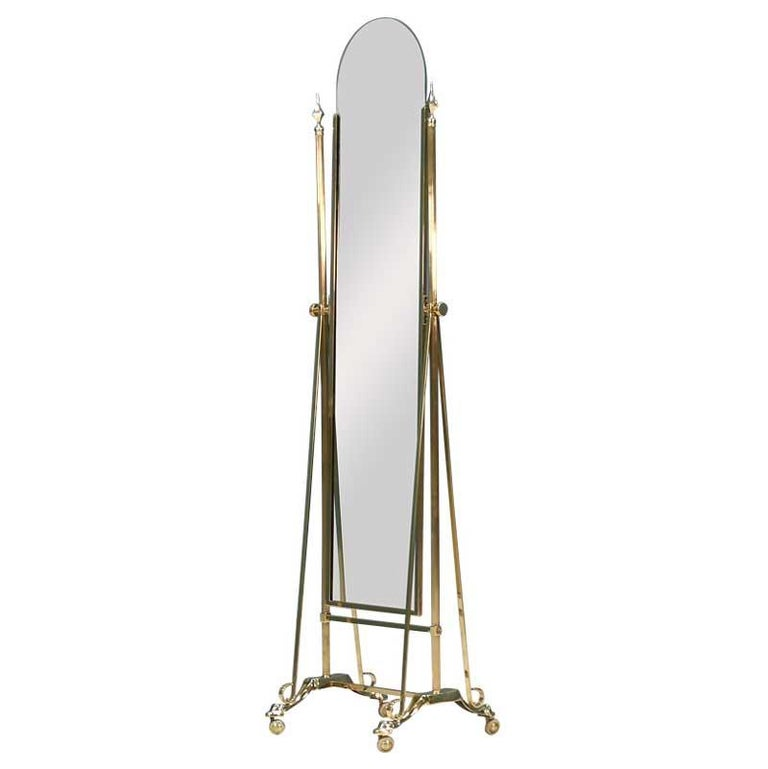Hollywood Regency Brass Chevel Dressing Mirror