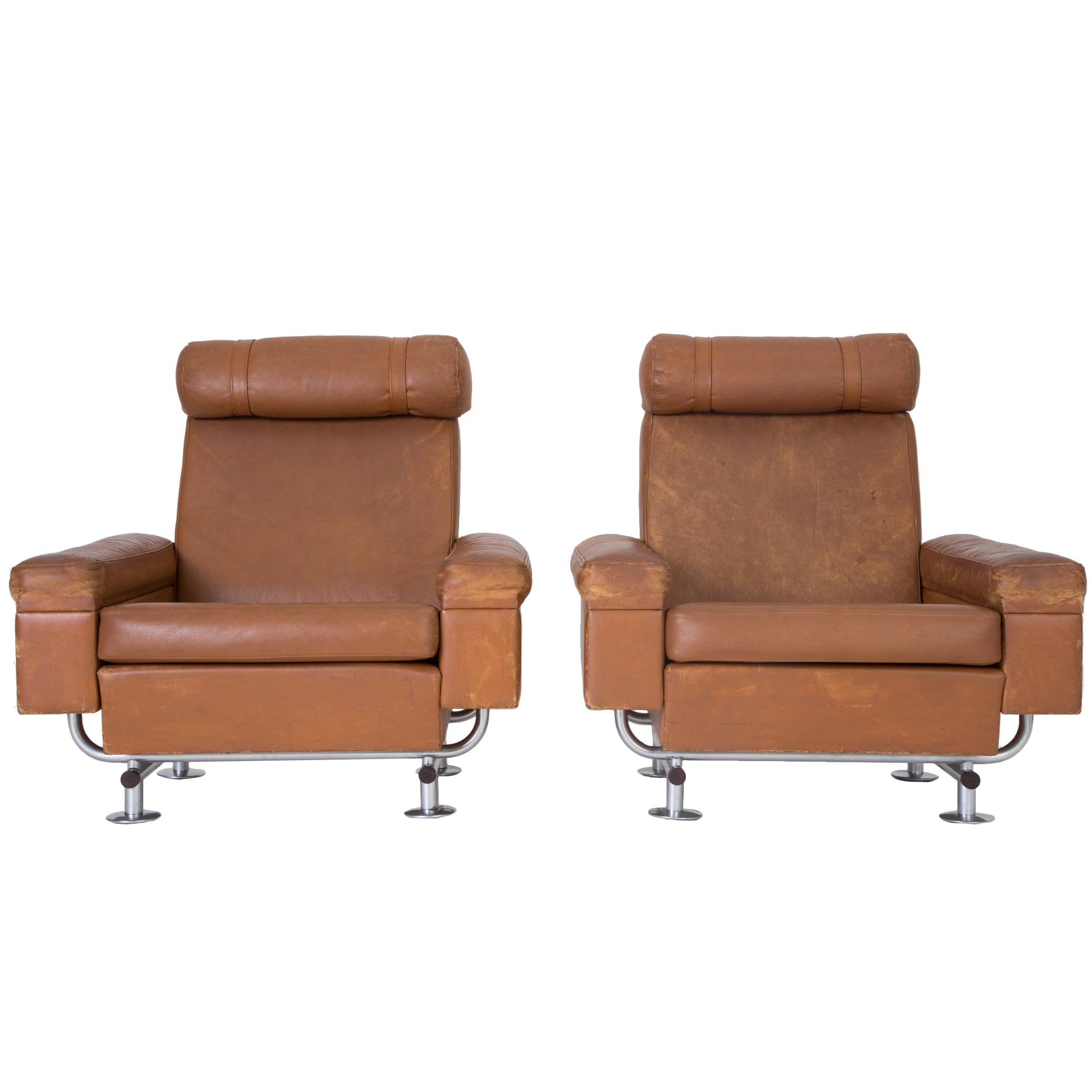 Pair of Illum Wikkelsø High-Backed Lounge Chairs for Ryesberg Møbler