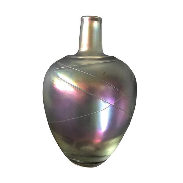 1950 Boda Iridescent Thumbprint Art Glass Vase Signed By Artist B