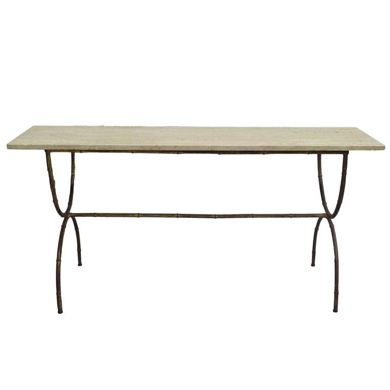 French Mid-Century Modern Gilt Iron Faux Bamboo Sofa Table/Console,Maison Baguès