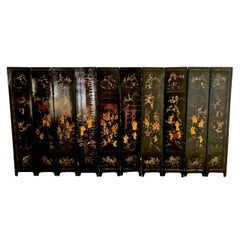 18th Century Chinese Lacquer Screen, Ten Panels