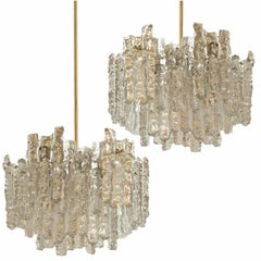 Pair of Large Modern Brass Ice Glass Chandeliers by J.T.Kalmar