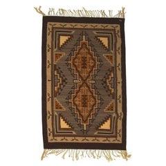 Vintage Navajo Geometric Flatweave Carpet