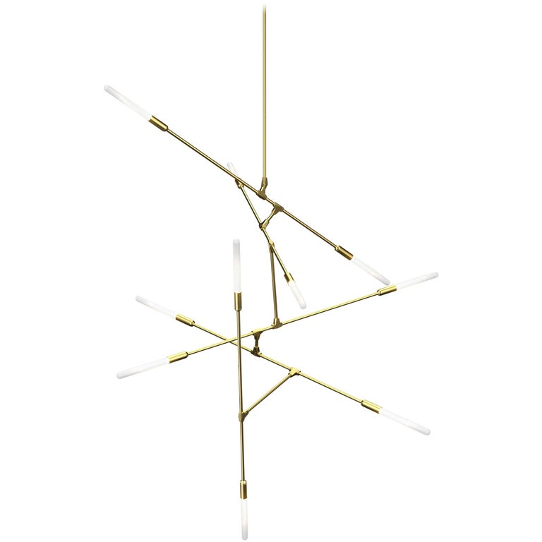 Dawn 10V Brushed Brass Chandelier by Matthew McCormick Studio