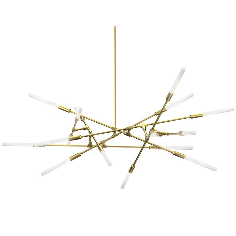 Dawn 16H Brushed Brass Chandelier by Matthew McCormick Studio