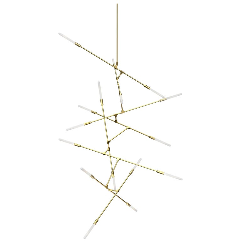 Dawn 16V Brushed Brass Chandelier by Matthew McCormick Studio For Sale