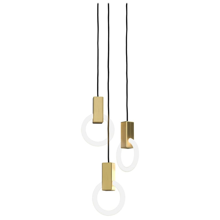 Halo C3 Brushed Brass Pendant (standard) by Matthew McCormick Studio
