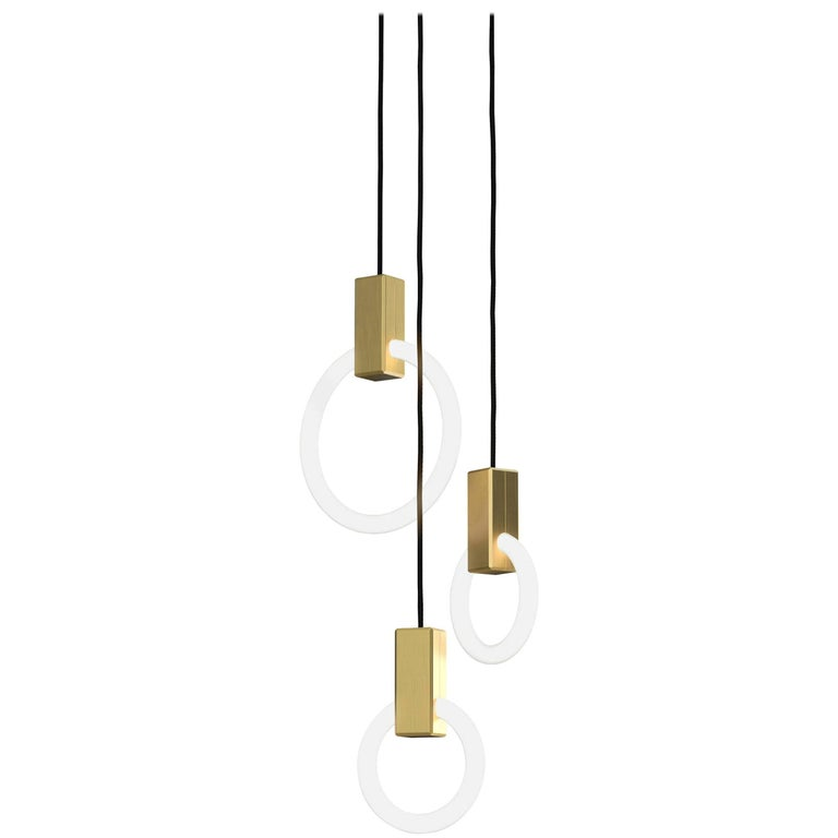 Halo C3 Brushed Brass Pendant (mixed) by Matthew McCormick Studio