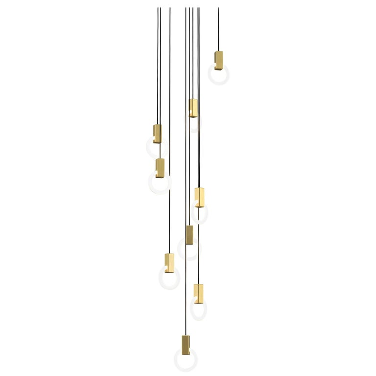 Halo C9 Brushed Brass Round Chandelier (standard) by Matthew McCormick Studio For Sale