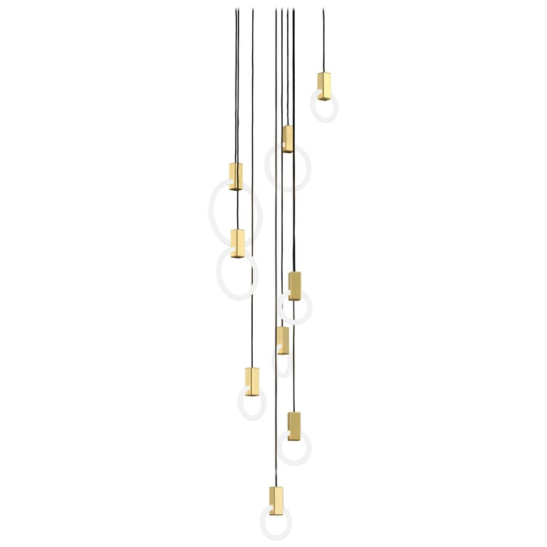 Halo C9 Brushed Brass Round Chandelier (mixed) by Matthew McCormick Studio