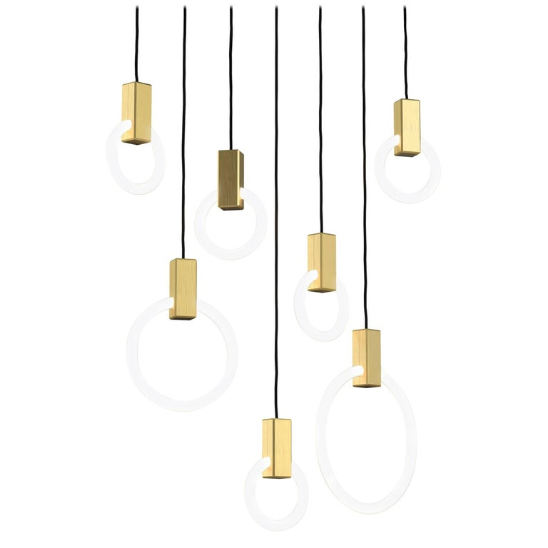 Halo C7 Brushed Brass Linear Chandelier (mixed) by Matthew McCormick Studio