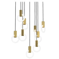 Halo C9 Brushed Brass Linear Chandelier (standard) by Matthew McCormick Studio