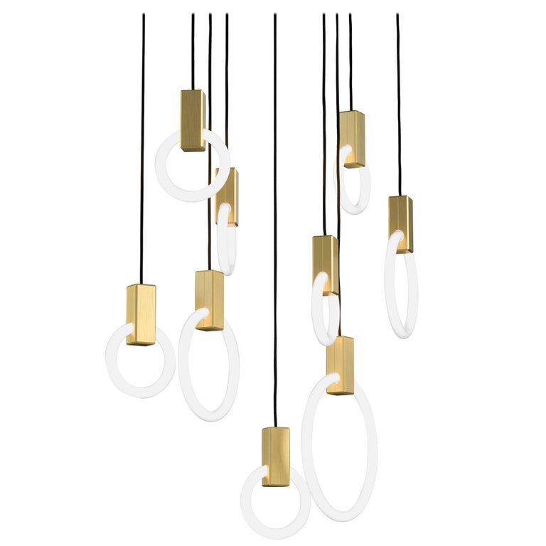 Halo C9 Brushed Brass Linear Chandelier (mixed) by Matthew McCormick Studio