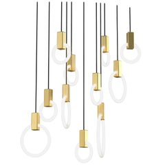 Halo C11 Brushed Brass Linear Chandelier (mixed) by Matthew McCormick Studio