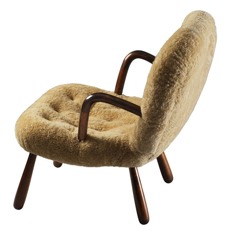Philip Arctander, Clam Armchair Beige Lambskin and Stained Wood, Denmark, 1940s For Sale
