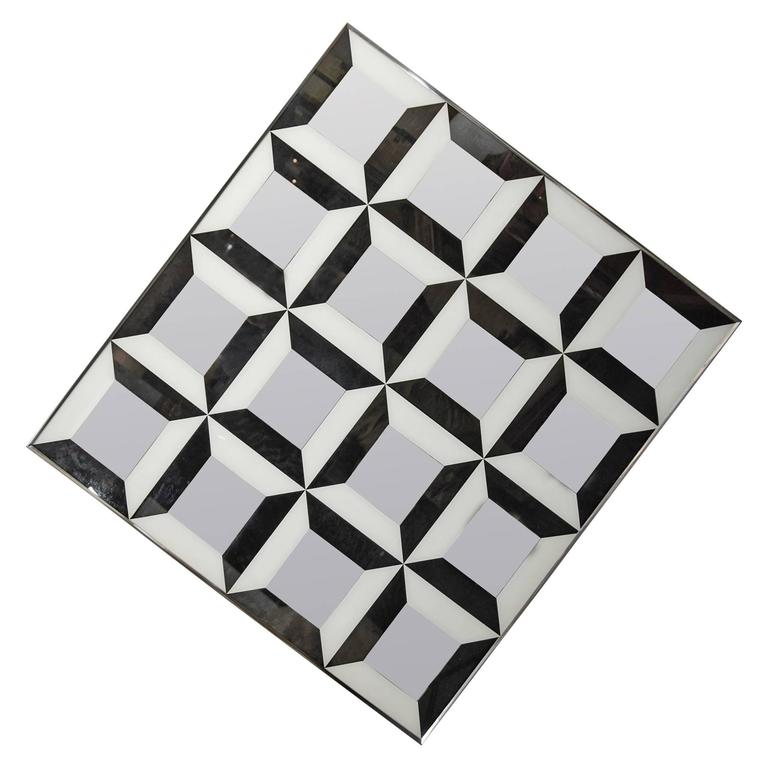 Black and White Op Art Wall Mirror For Sale