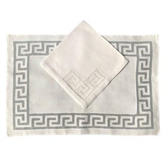 Set of Six Greek Key Placemats and Napkins