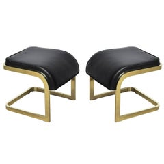 Brass and Leather Stools by DIA