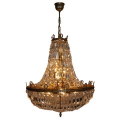 Huge Empire Style Basket Chandelier by Palwa, Germany, 1960s