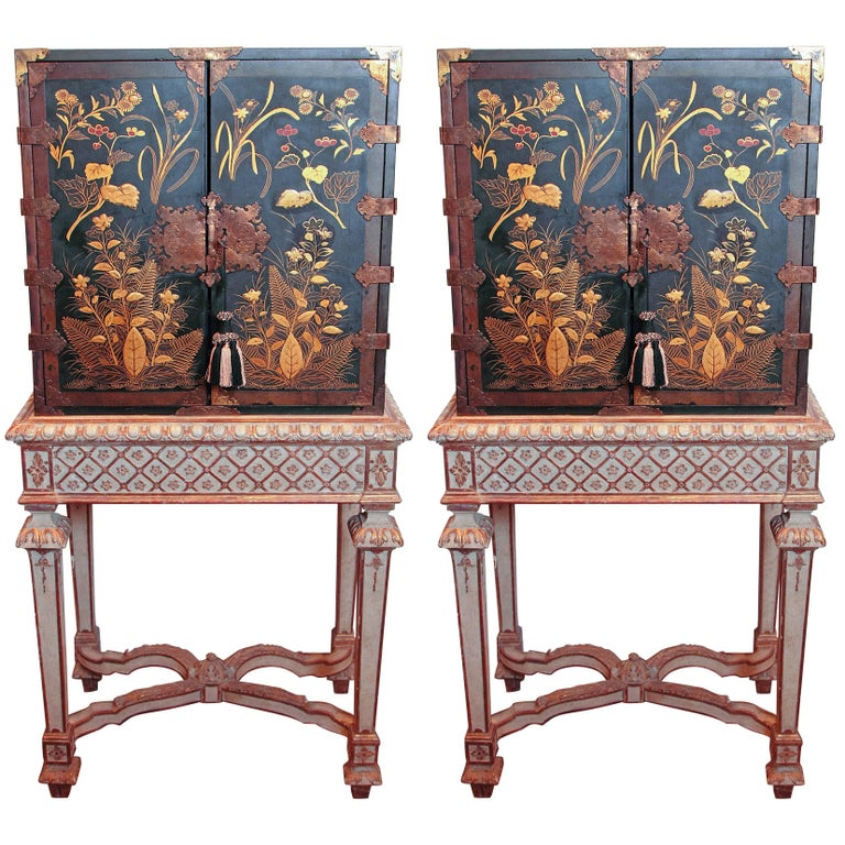 19th Century English Japanned Black Lacquered Cabinets on Stands