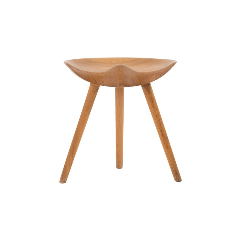 Mogens Lassen Stool in Elm for K. Thomsen For Sale