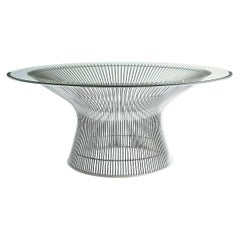 Modern Warren Platner for Knoll Chrome Coffee Table with Glass Top