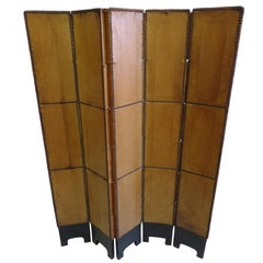 French 30s Deerskin Leather Screen in the Style of Jean-Michel Frank