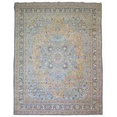 Antique Persian Tabriz Rug with Blue and Orange Accents