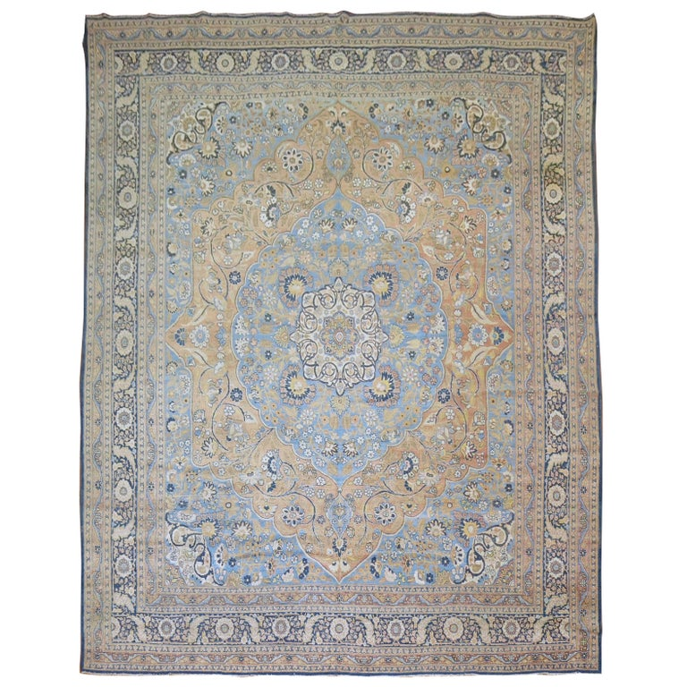 Pasargad Ny Persian Hand Knotted Wool Light Blue Ivory: Antique Persian Tabriz Rug With Blue And Orange Accents