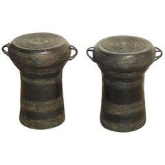 Pair of Southeast Asian Bronze Rain Drum Drink Tables